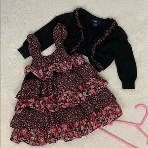 Floral Prairie Style Dress and Sweater